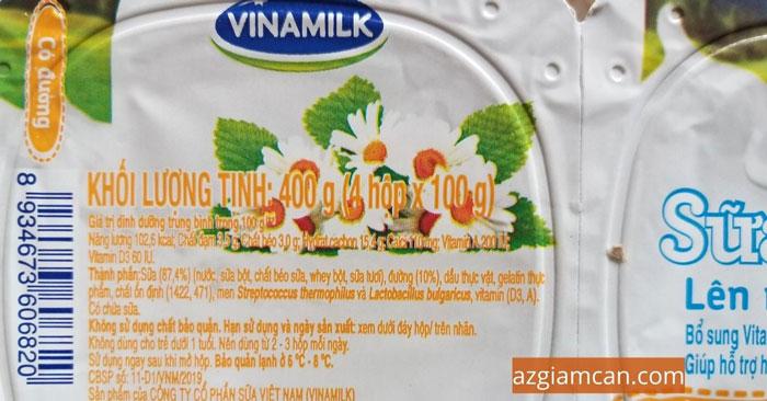 calo trong sữa chua có đường lên men tự nhiên của Vinamilk