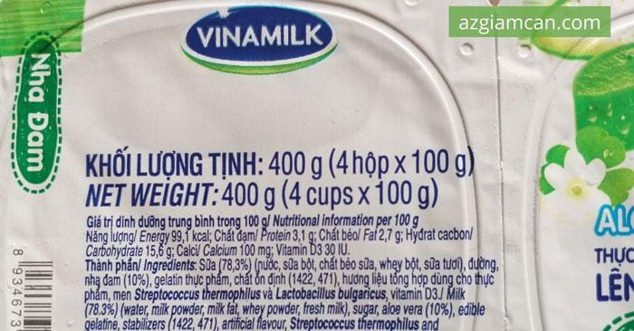 calo trong sữa chua có đường nha đam của Vinamilk