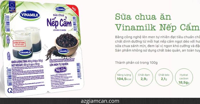 calo trong sữa chua nếp cẩm có đường của Vinamilk